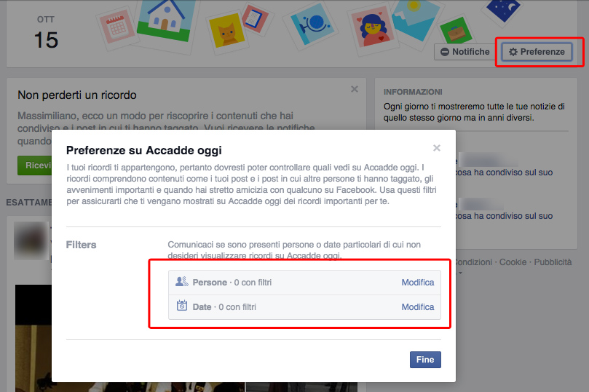 Facebook eliminare ricordi