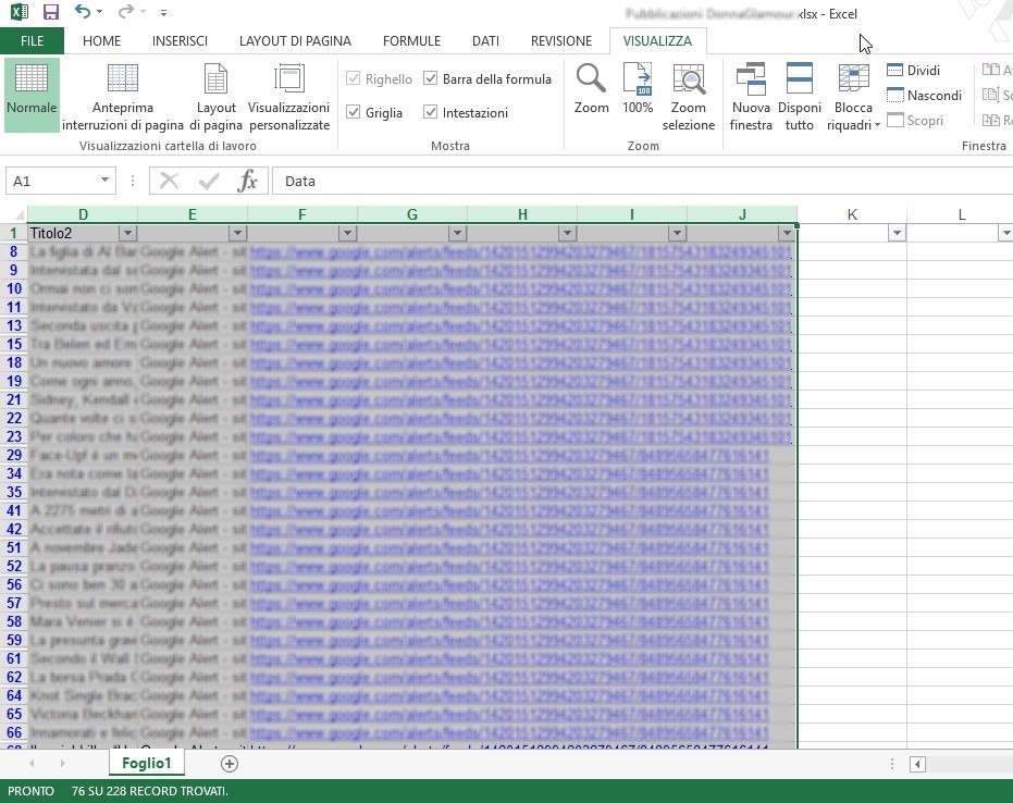 Excel ridimensiona 1