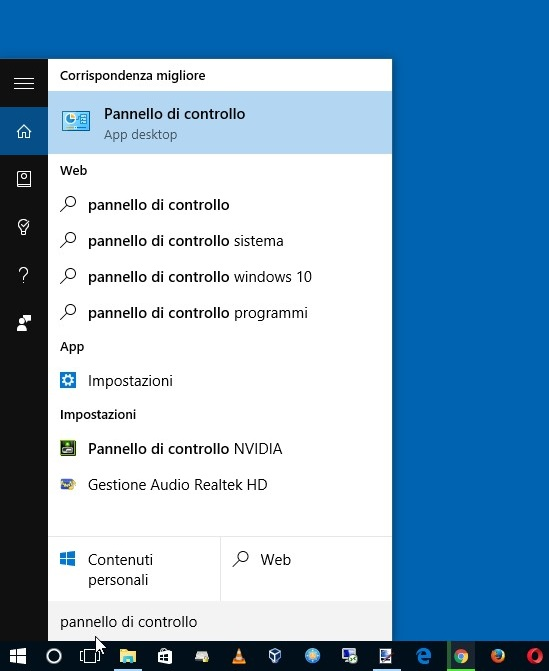 Apriamo il Pannello di Controllo in Windows 10 usando Cortana
