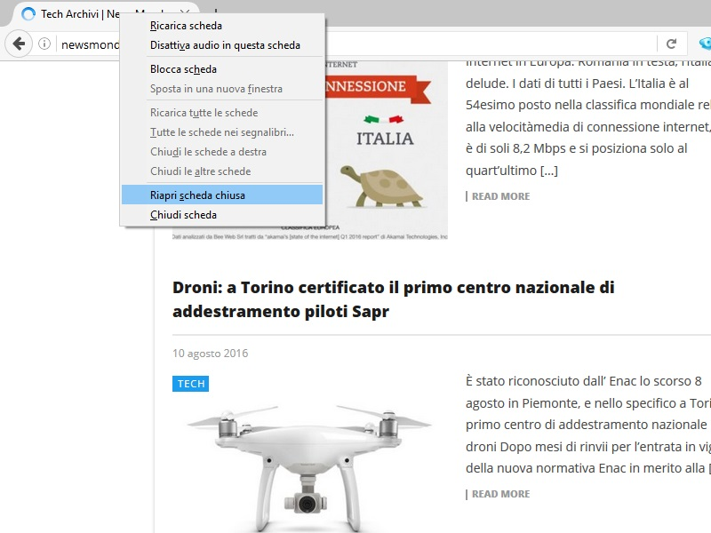 schede appena chiuse Firefox