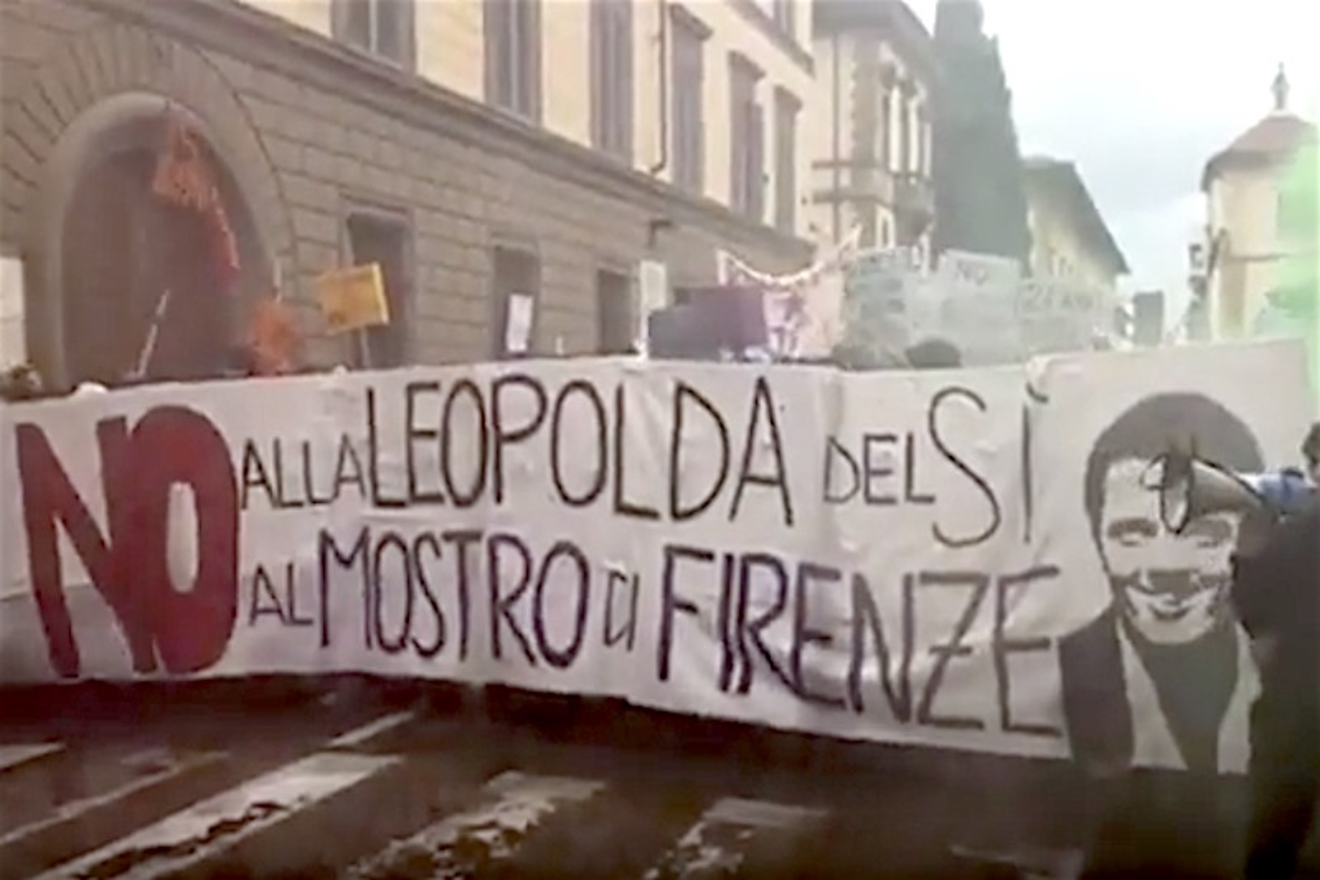 Corteo anti-Leopolda a Firenze
