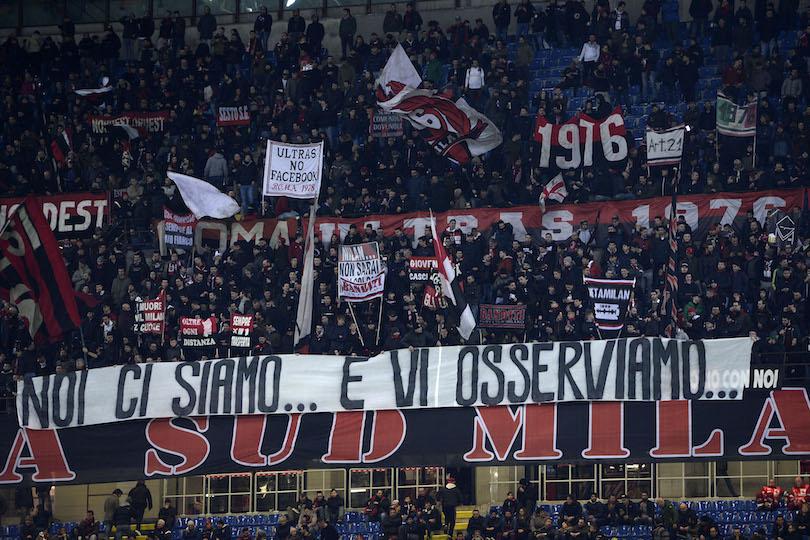 Milan-Chievo Verona serie A striscione tifosi Milan