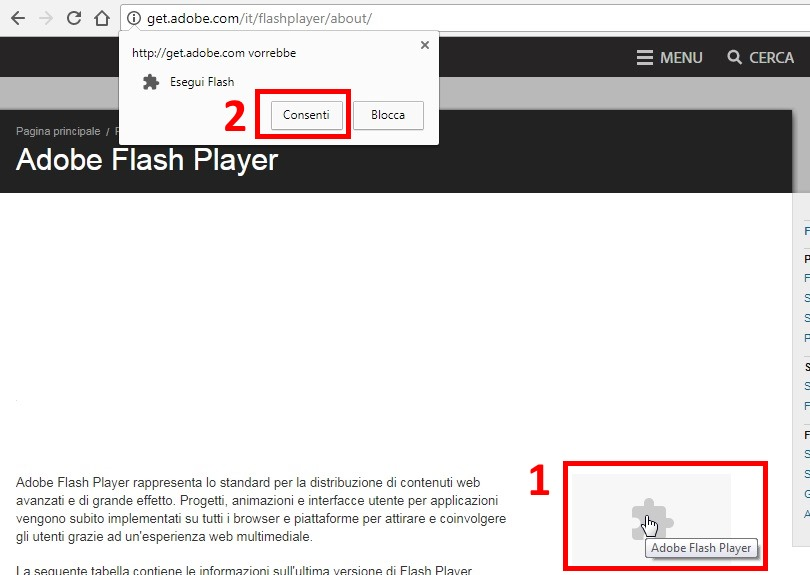 Flash Player su Chrome attivazione rapida
