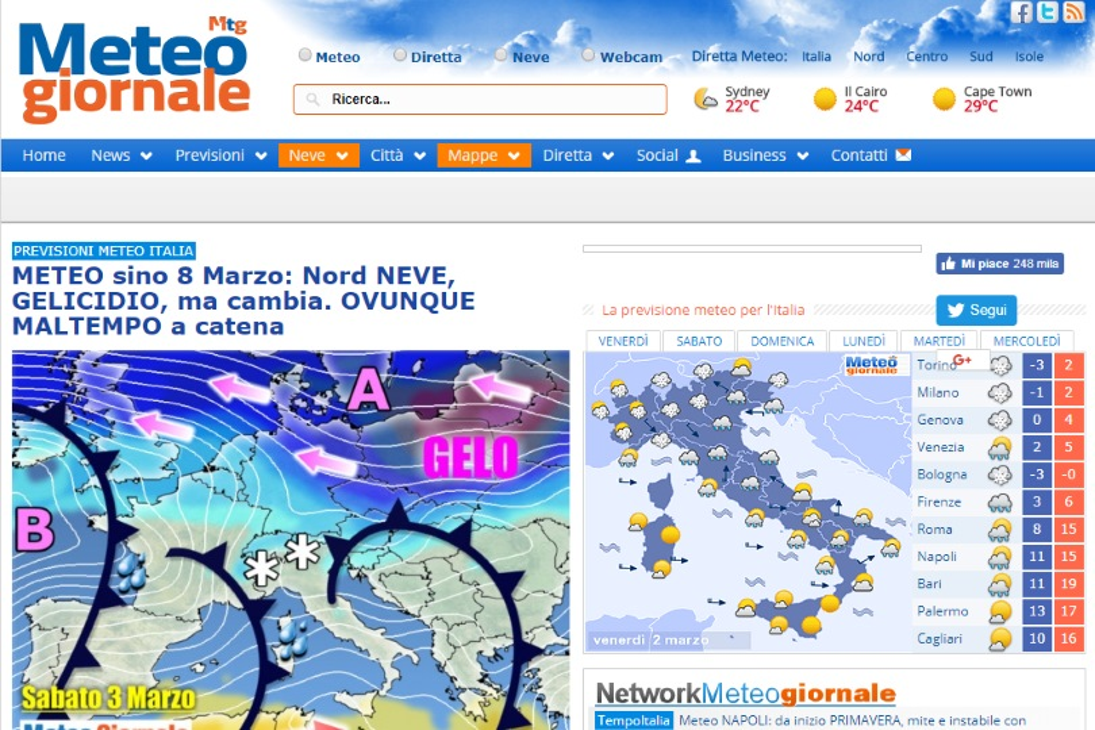 migliori siti meteo Meteogiornale