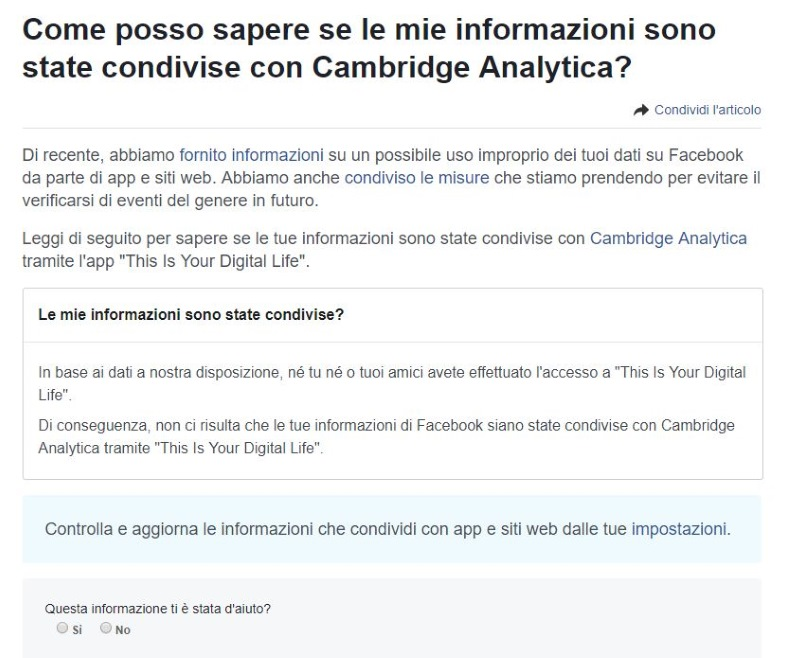 Facebook Cambridge Analytica verifica