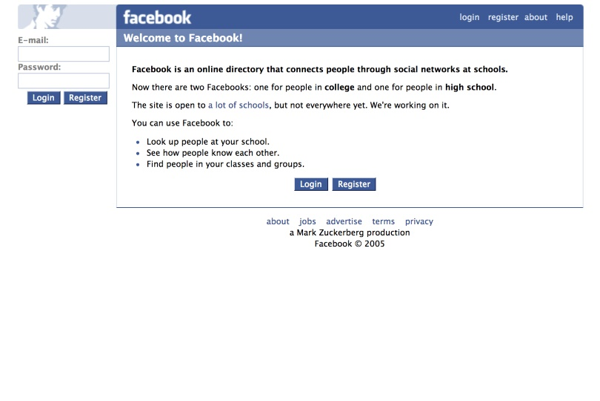 Archivio siti Web, Facebook del 2004