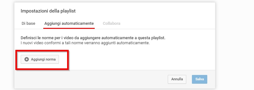 Playlist YouTube aggiornamento automatico norme