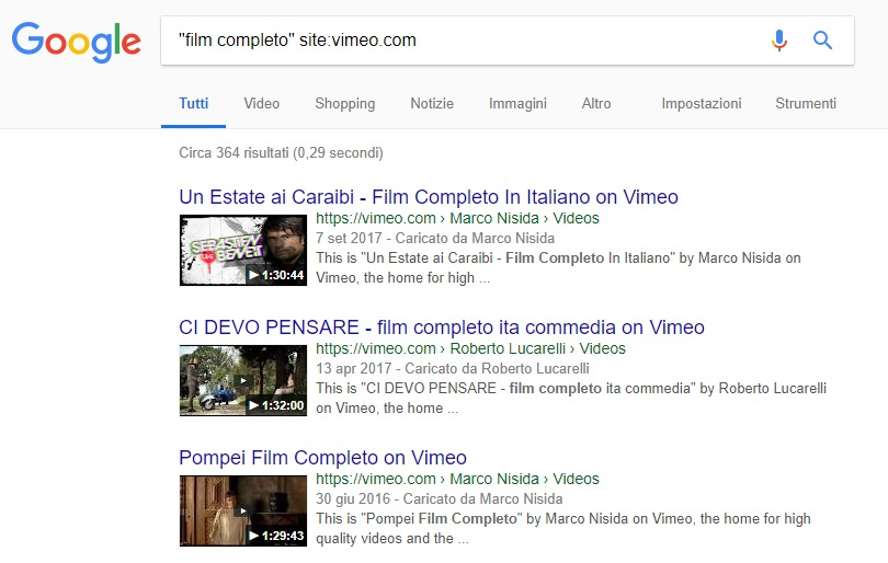 film streaming gratis ricerca Google Vimeo