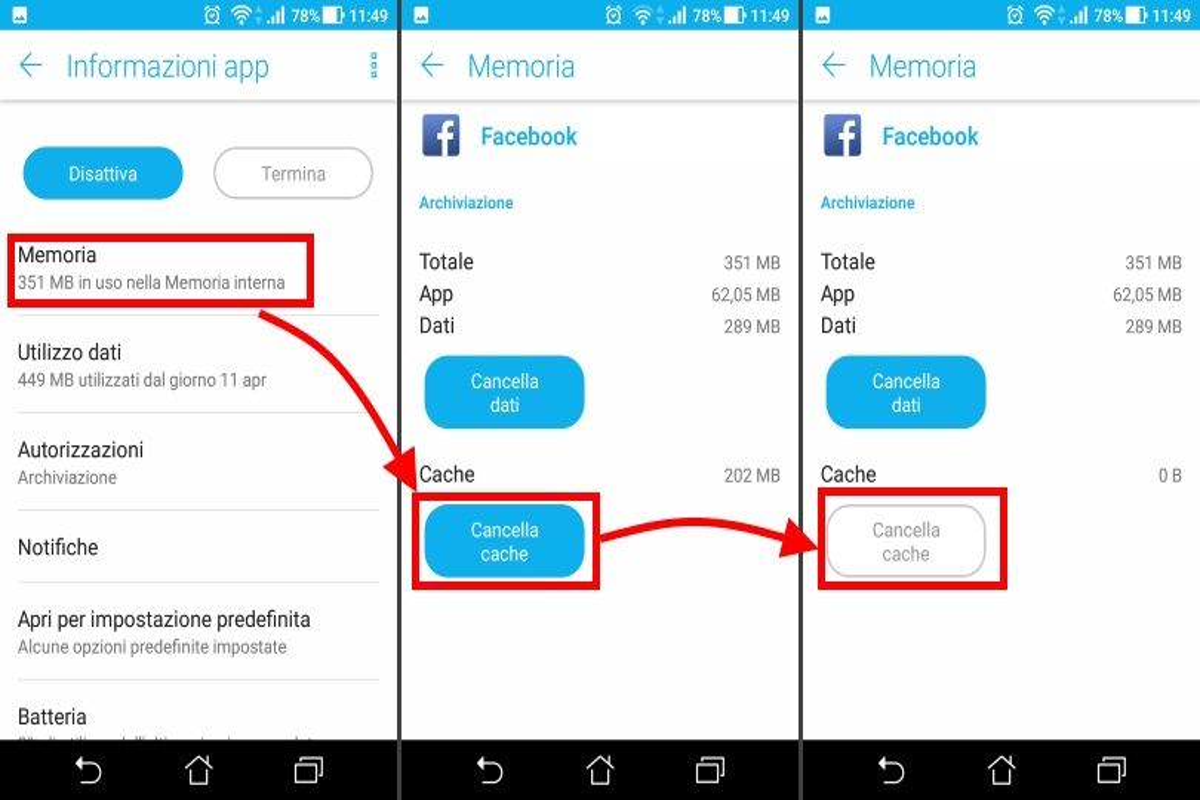App Bloccate pulizia cache 3