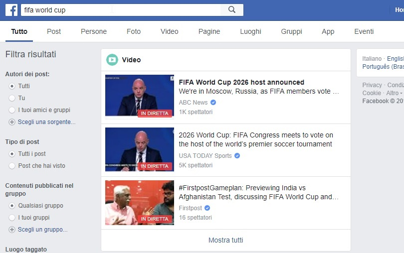 Fifa World Cup ricerca su Facebook