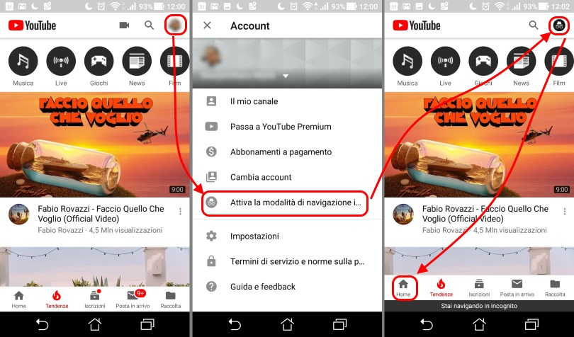 Incognito YouTube Attivare mobile