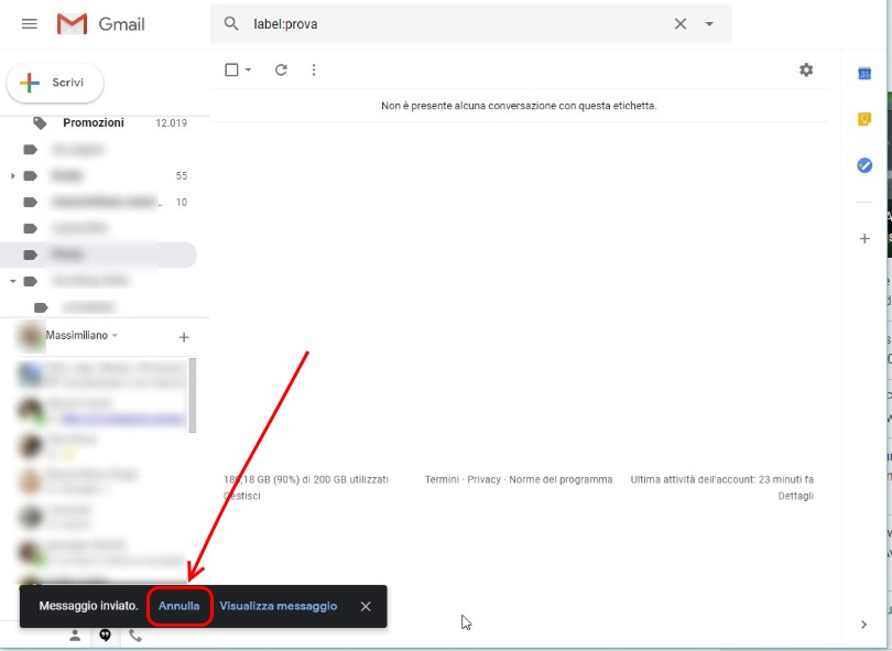 Cancellare una mail inviata gmail desktop