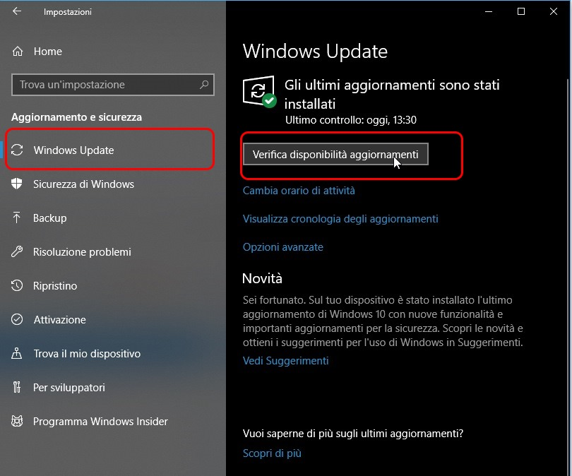 aggiornare driver Windows Update