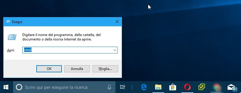prompt dei comandi windows 10 finestra di esecuzione