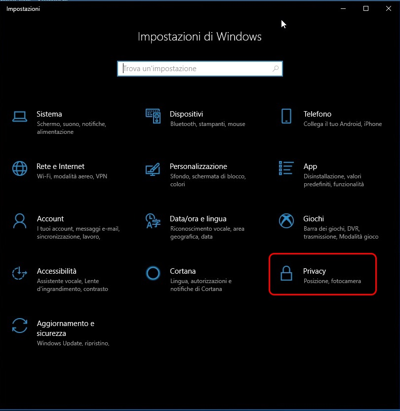 Webcam in windows 10 privacy