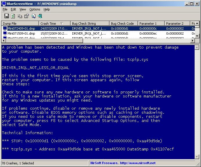 bluescreenview dettagli BSOD