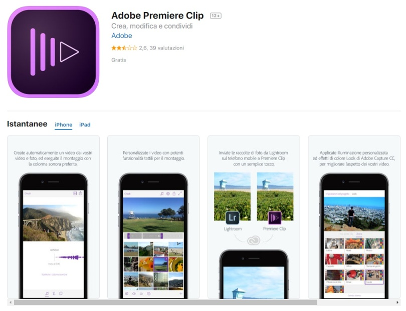 App per video iPhone Adobe Premiere Clip