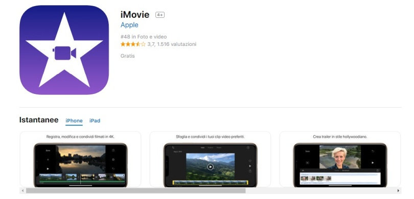 App per video iPhone iMovie