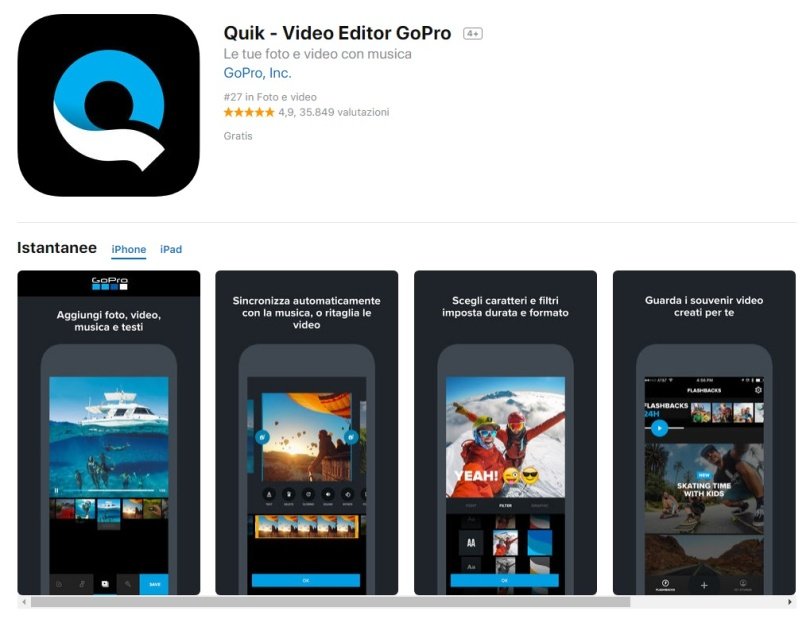 App per video iPhone Quik