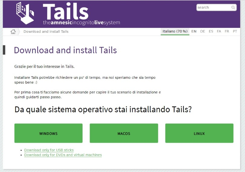 Accedere al Deep Web download Tails