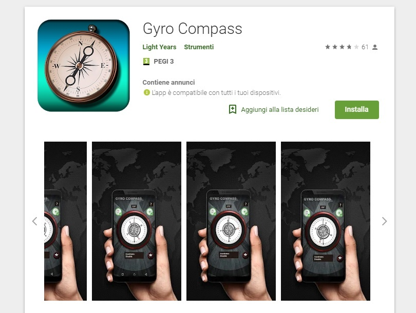 Bussole gratis gyro compass Android