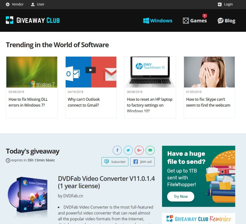 Software gratis Giveaway Club