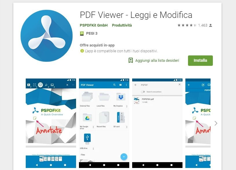 modificare PDF Android PDF Viewer PSPDFKit