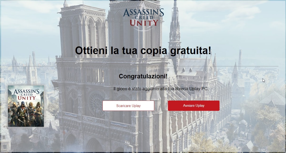 Scaricare Assassins creed Unity gratis Uplay