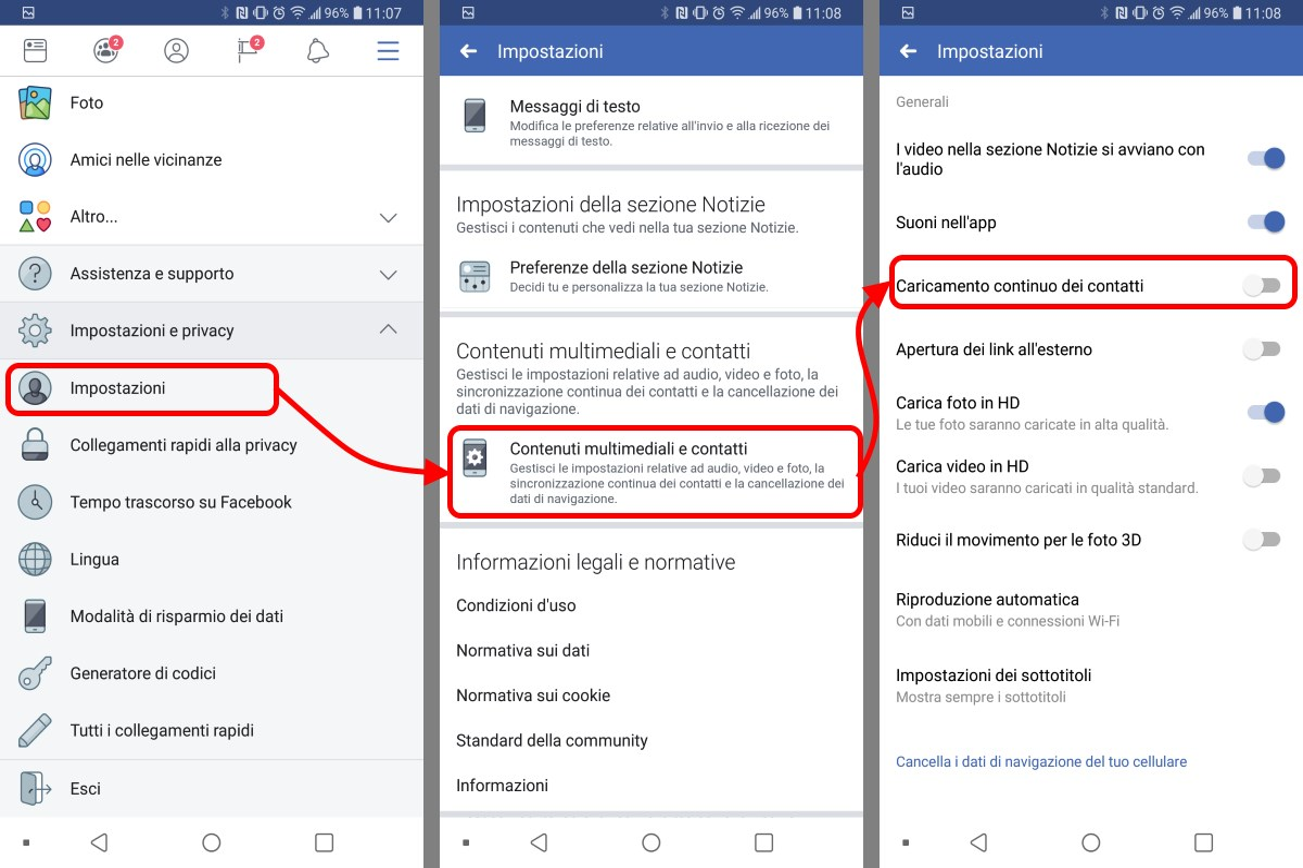 disabilitare caricamento continuo contatti Facebook