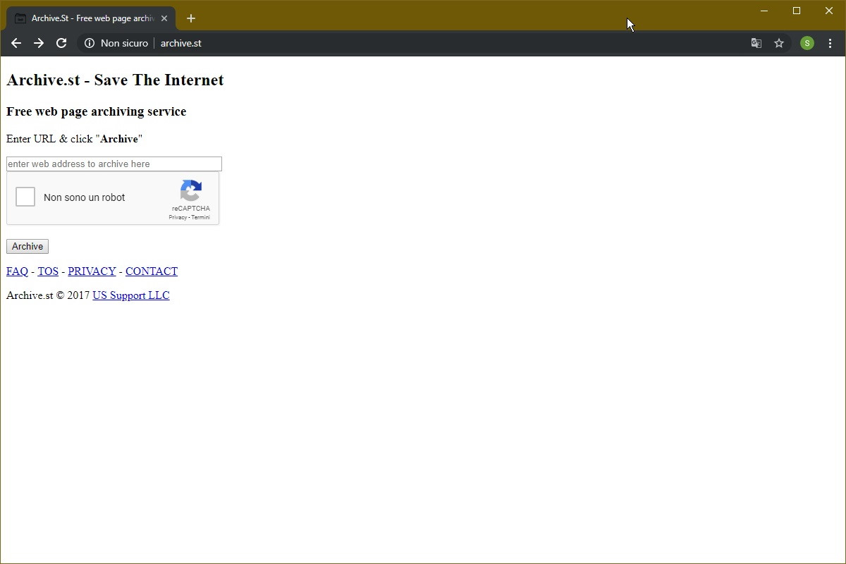 Archiviare pagine Web archive st