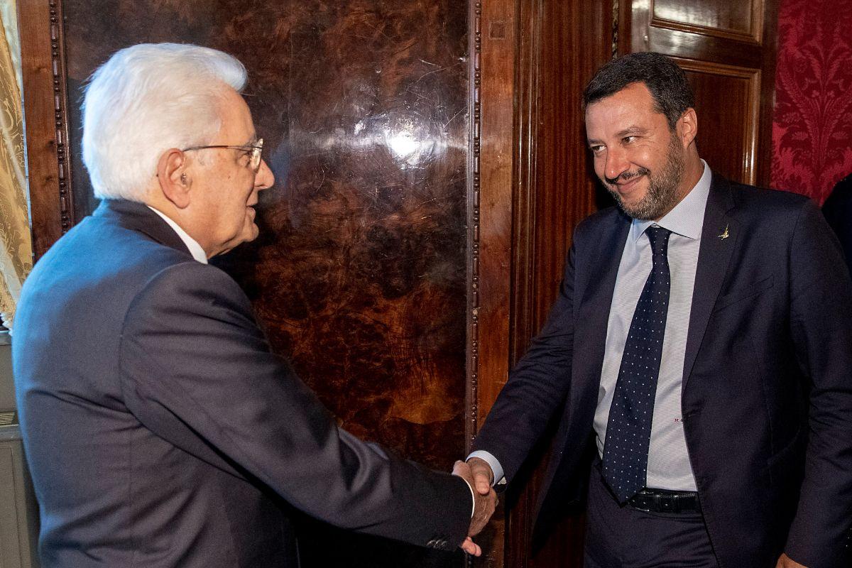 Sergio Mattarella e Matteo Salvini