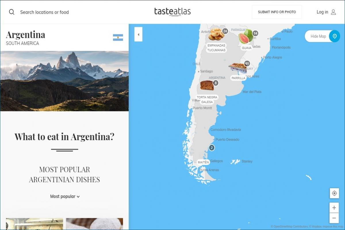 Mappa piatti tipici nazione