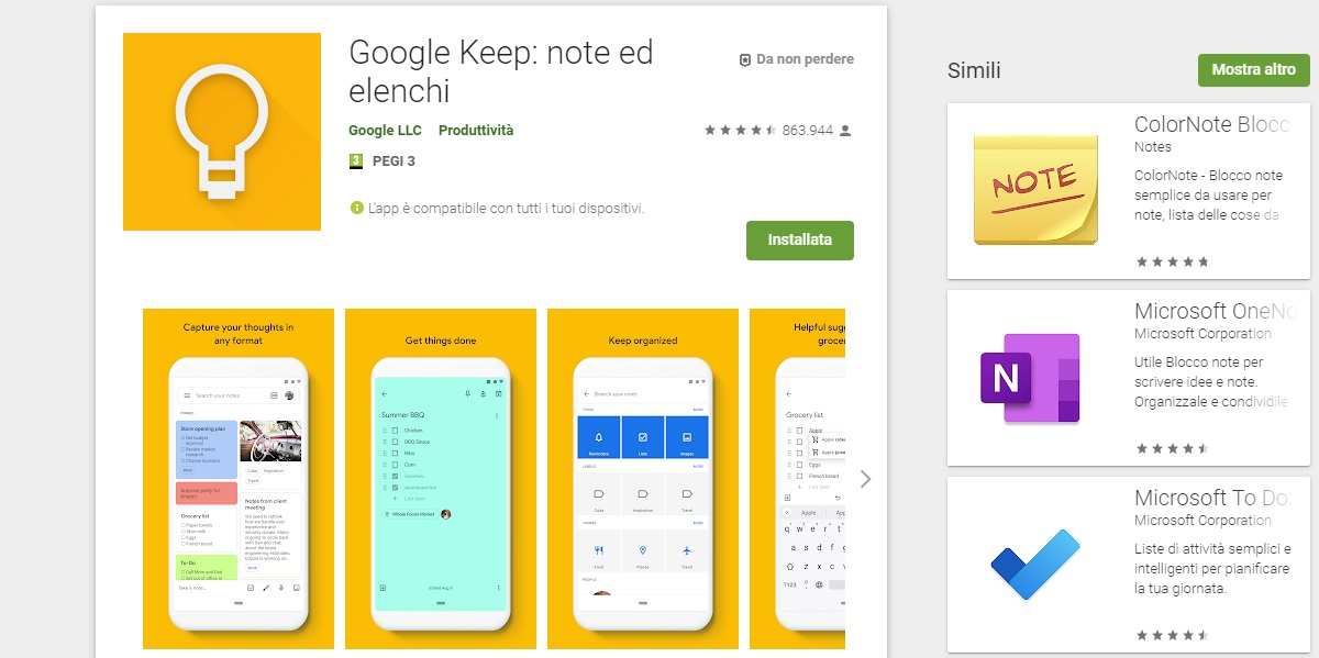 Appunti android Google Keep