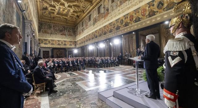 Mattarella riceve al Quirinale le alte cariche dello Stato, assente Salvini