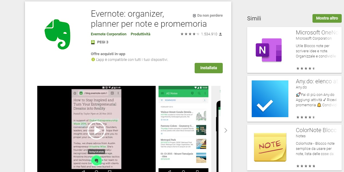 Evernote app note Android