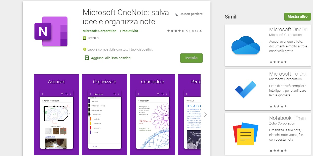 OneNote Android Appunti