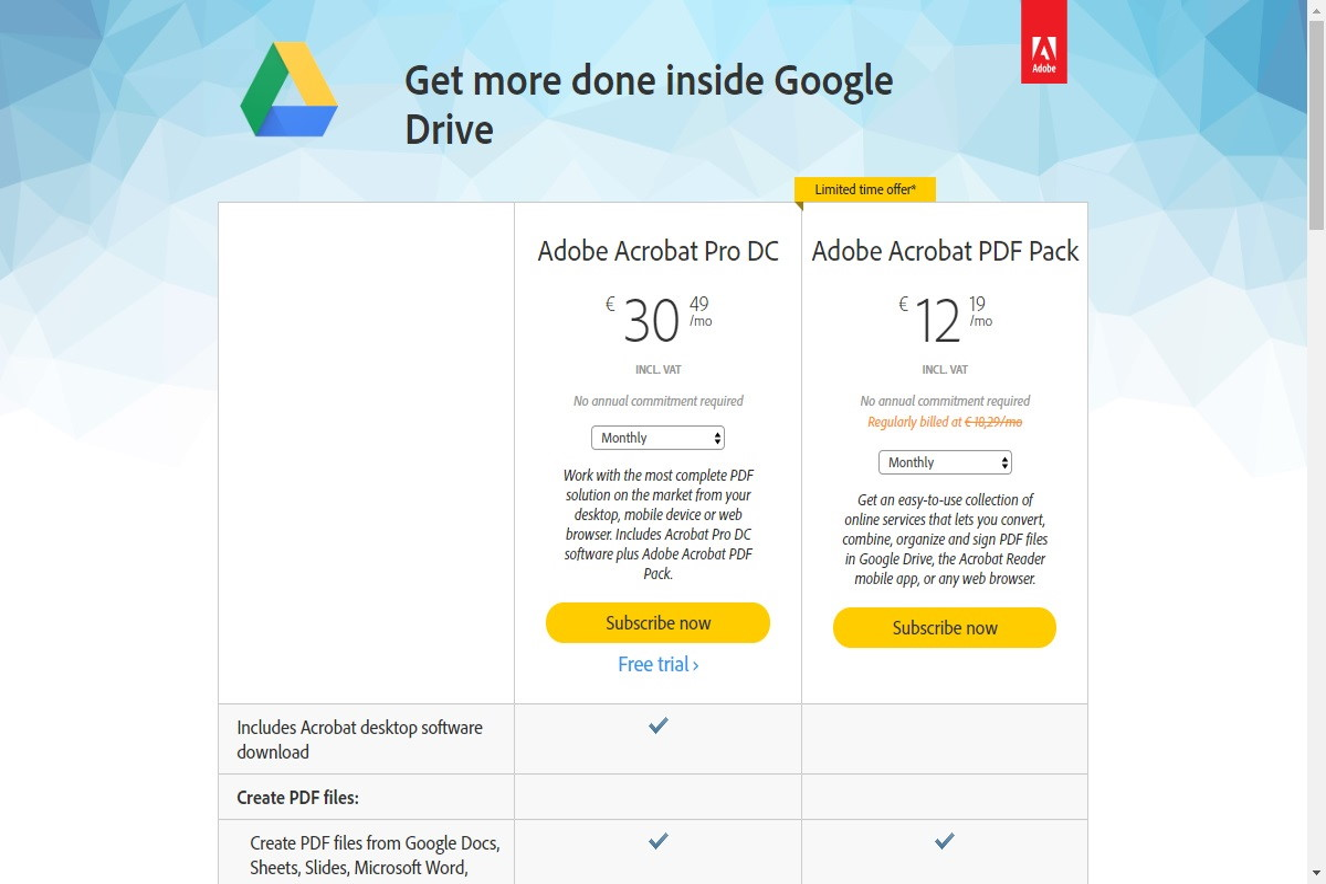 Adobe Acrobat For Google Drive Prezzo