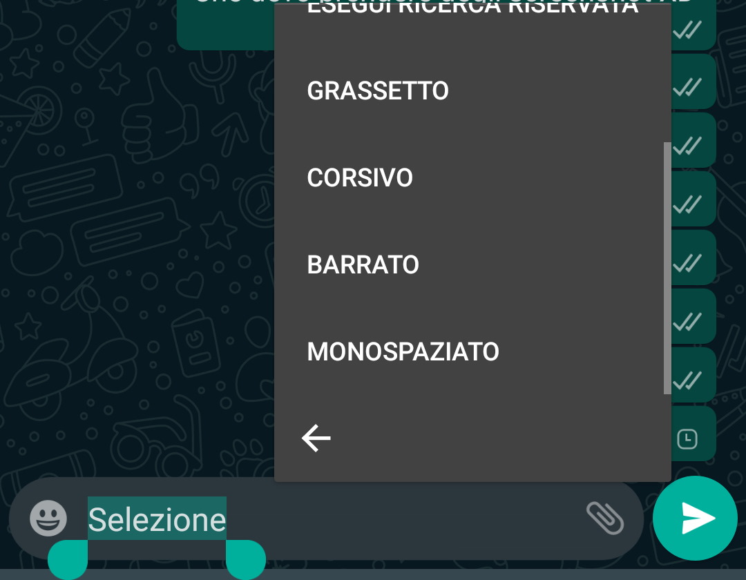 grassetto whatsapp con menu