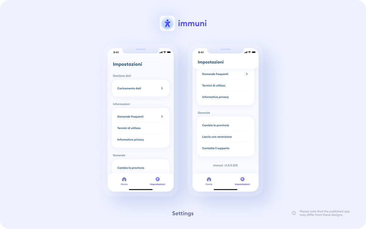App Immuni Settings