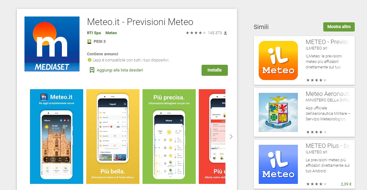 App meteo per Android Meteo It