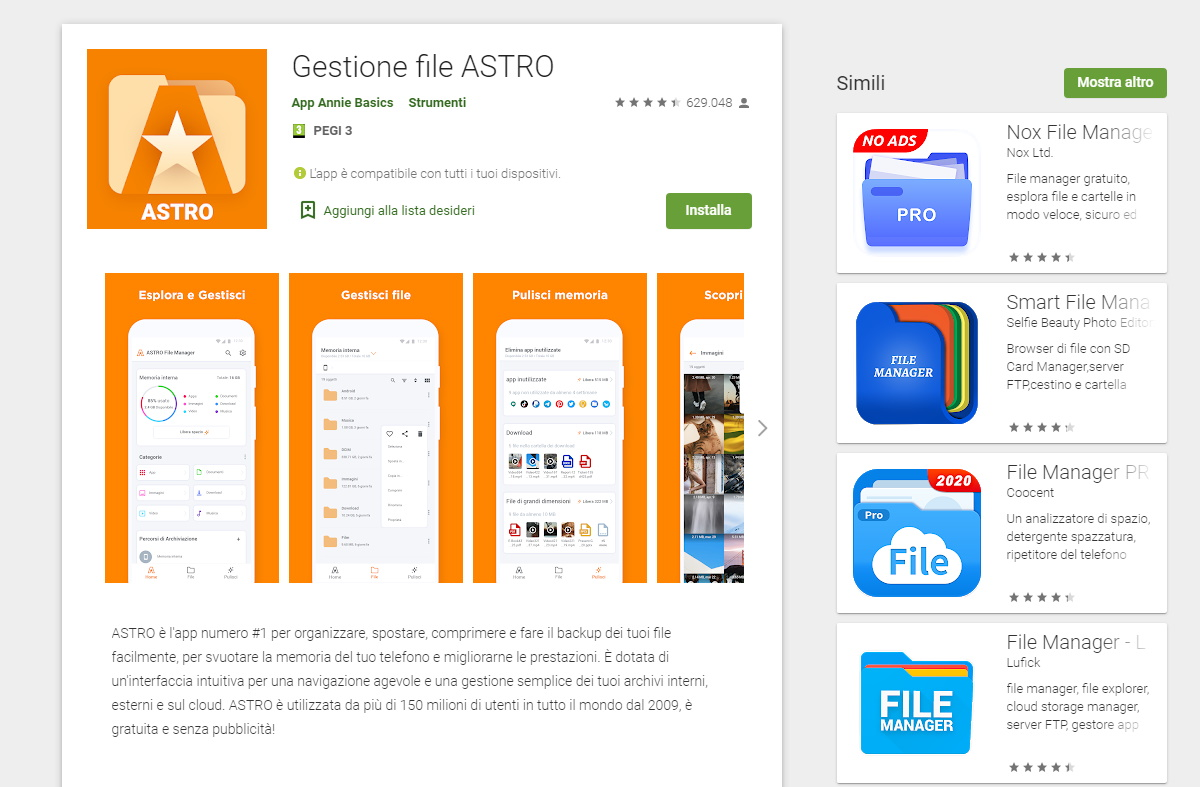 File Manager Android Gestione file Astro