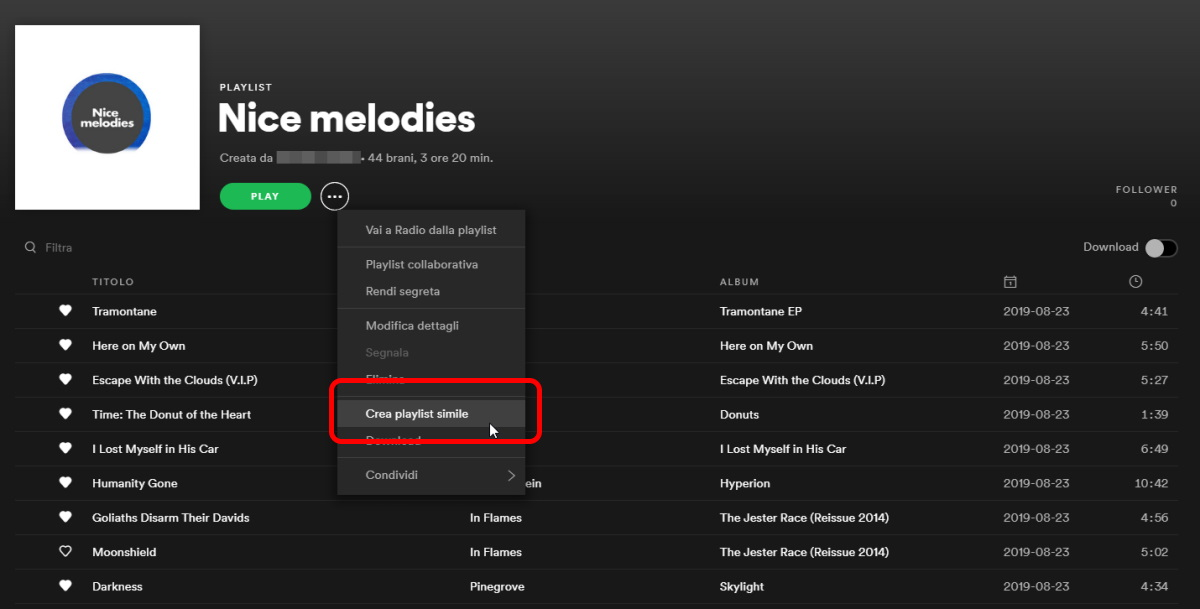 Nuova Musica su Spotify crea playlist simile