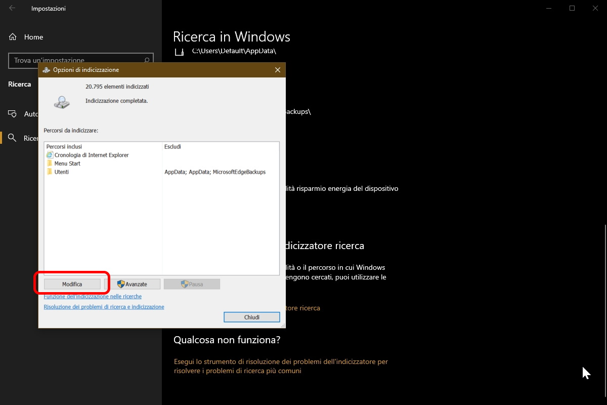 Windows Search nuovi percorsi
