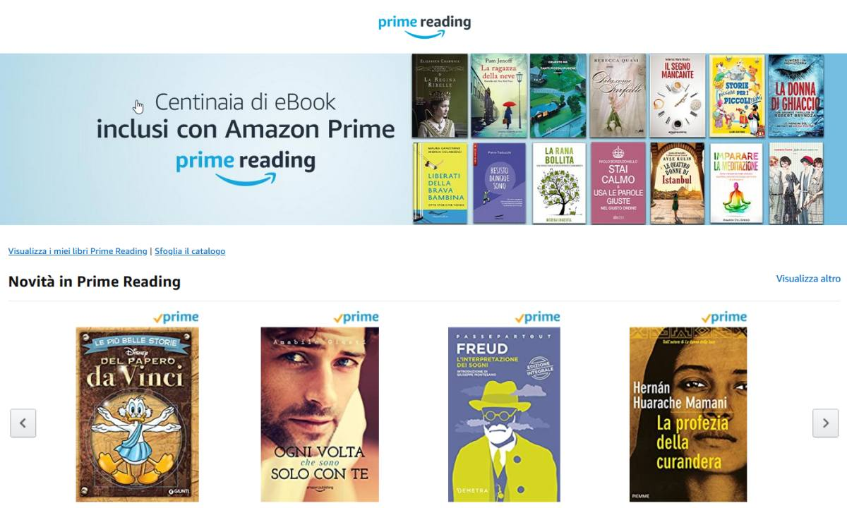 Servizi amazon prime prime reading