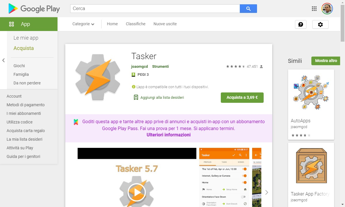 Personalizzare Android Tasker