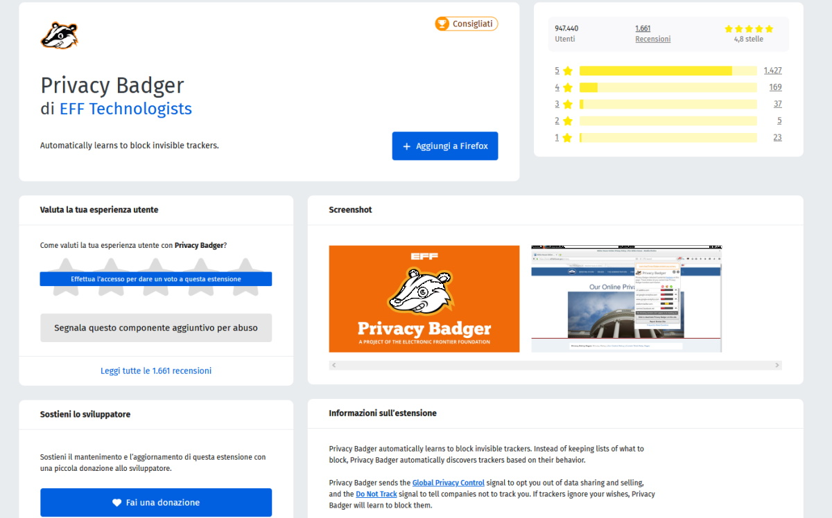 Componenti aggiuntivi Firefox privacy badger