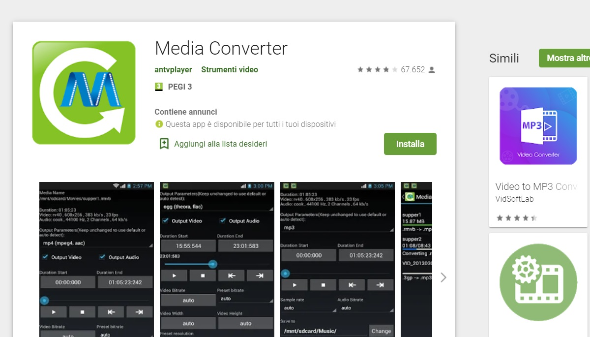 Convertire video Android Media Converter