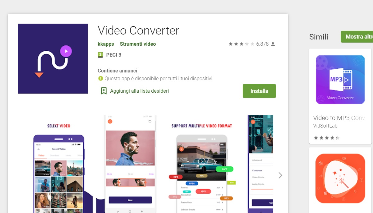 Convertire video Android kkapps video converter