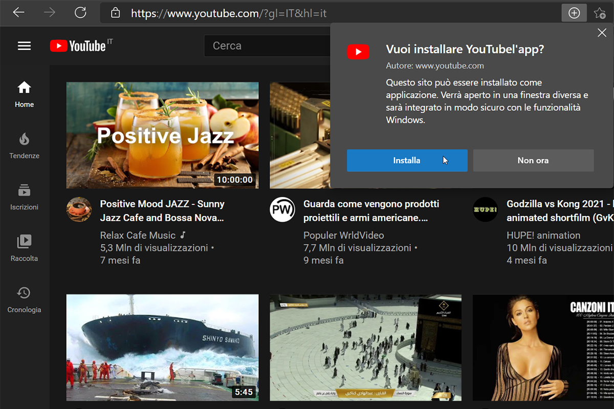 YouTube sul computer