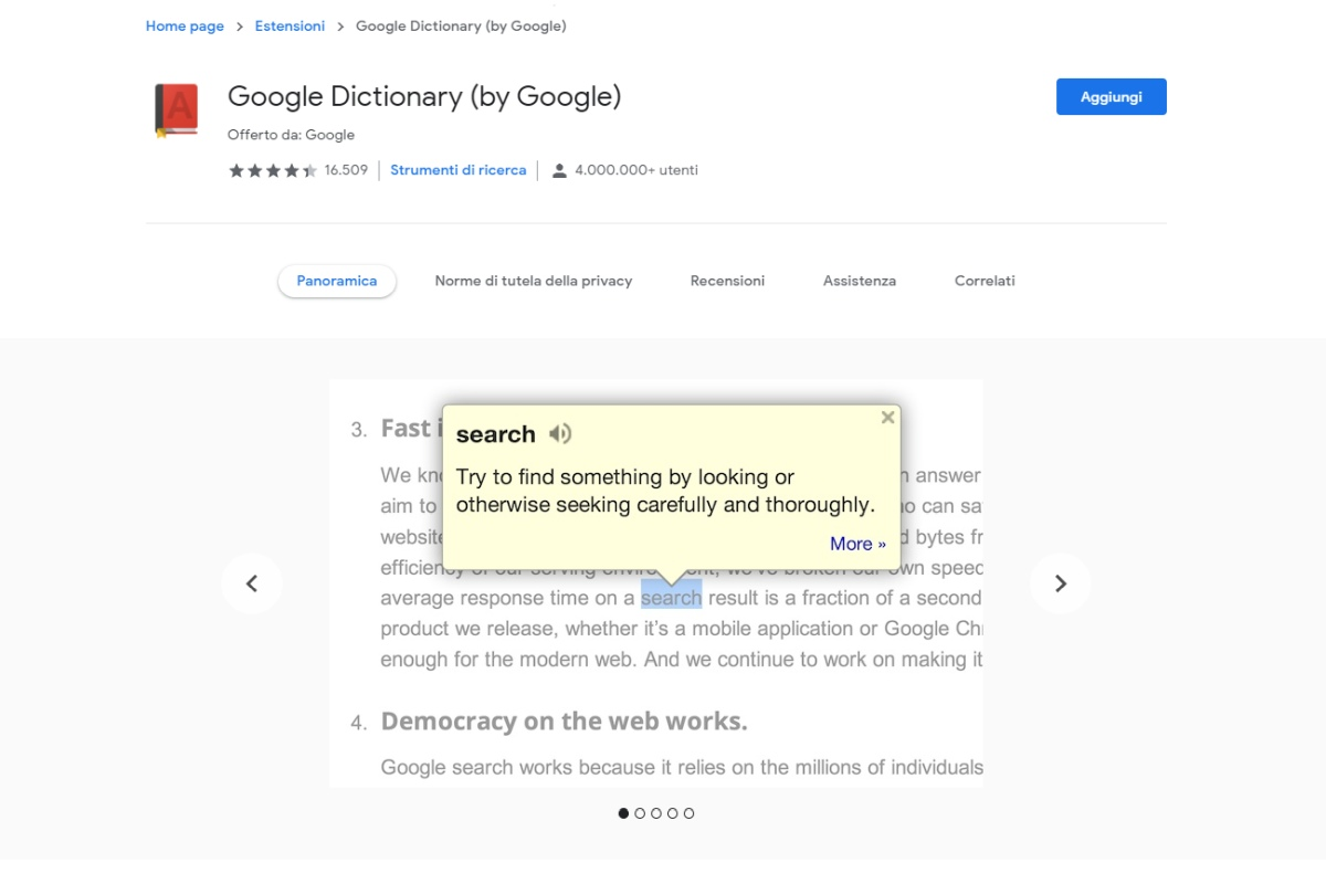 Estensioni chrome per studenti google dictionary